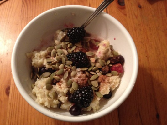 Millet, Blackberries, Pumpkin seeds, sunflower seeds with Coconut milk